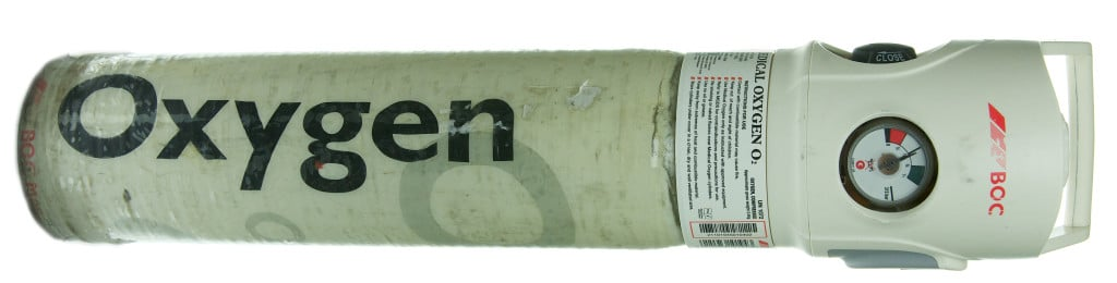 A picture of an oxygen cylinder