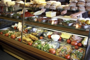 A chilled food display counter